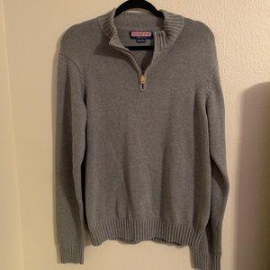 Vineyard Vines men's gray half zip sweater